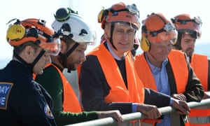 Hammond with members of the white helmets rescue mission.