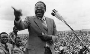 Robert Mugabe giving a campaign speech in February 1980