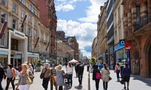 Shops on Buchanan Street, in the city centre of Glasgow, Scotland.