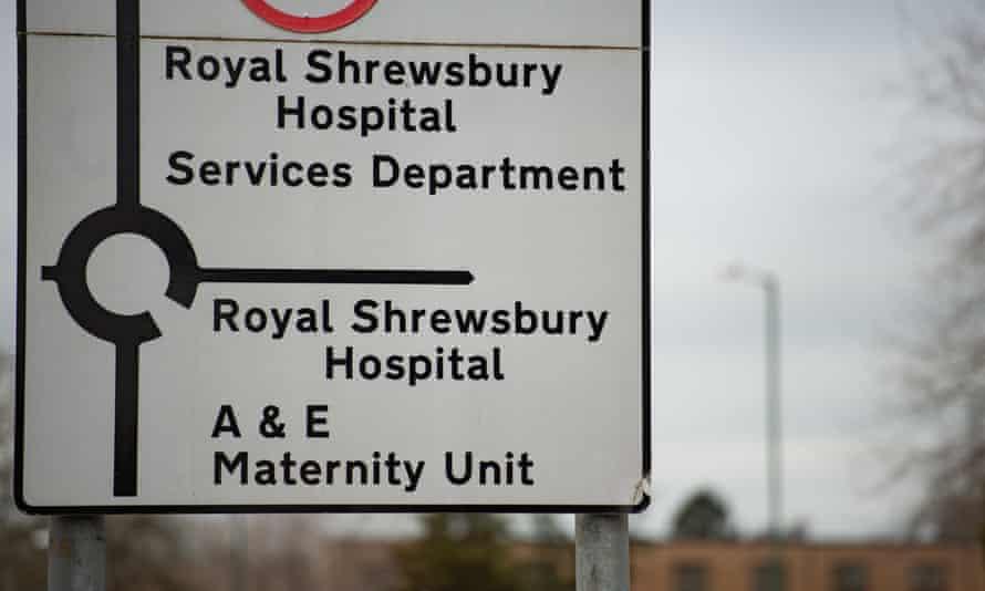Road signs outside the Royal Shrewsbury Hospital, Shropshire.