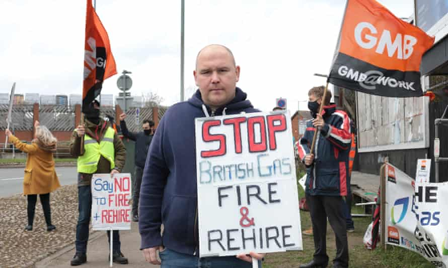 Workers strike over plans for British Gas to 'fire and hire' them, Sidcup, Kent.