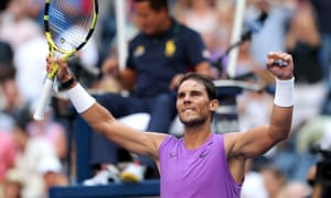 Rafael Nadal celebrates beating Hyeon Chung.