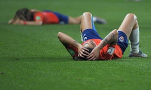 Chile's players react at the end of the match.