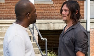 Daryl confronts Morgan who, like Gandhi, has turned away from the Way of Killing.
