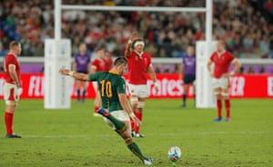 Handrè Pollard kicks the winning penalty with four minutes remaining.