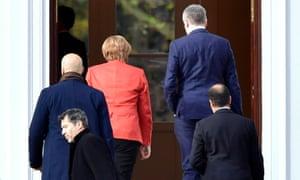 German Chancellor Angela Merkel in Berlin this morning.