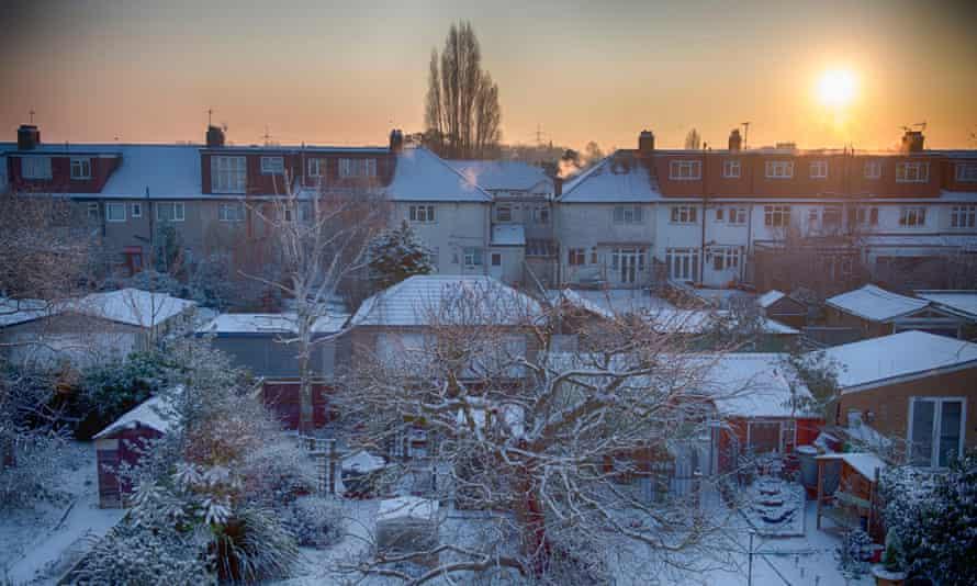 Winter sunrise in Merton, London UK