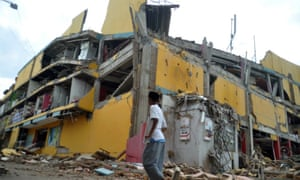 A building destroyed by the earthquake in Palu.