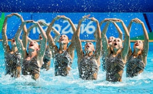 Olympic Games 2016 Synchronised Swimmingepa05496508 Team Russia performs in the Synchronised Swimming Teams Technical Routine Final of the Rio 2016 Olympic Games Synchronised Swimming events at the Maria Lenk Aquatics Centre in the Olympic Park in Rio de Janeiro, Brazil, 18 August 2016. EPA/PATRICK B. KRAEMER