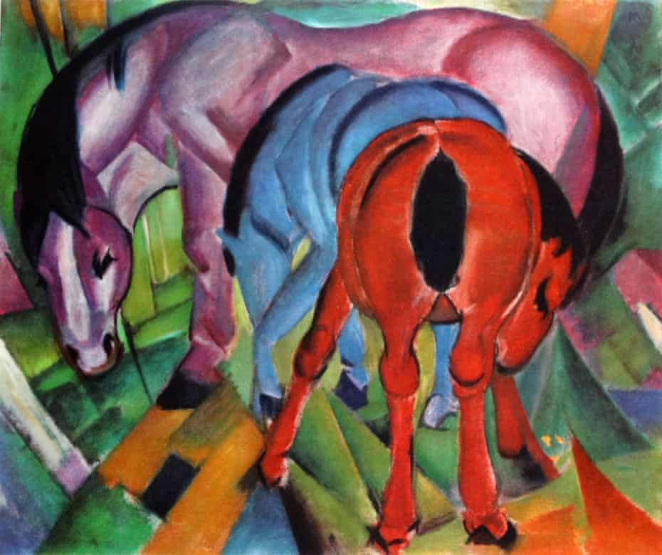 Unforgettable visions … Three Horses, 1912, by Franz Marc.