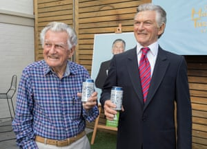 Hawke and a wax model holding beer cans
