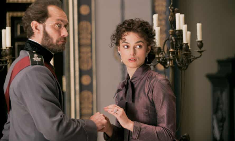 Jude Law as Karenin and Keira Knightley in the title role of Anna Karenina (2012).
