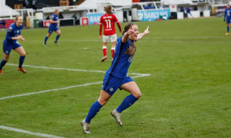 Fran Kirby celebrates opening the scoring for Chelsea in their one-sided win against Bristol City