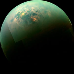 30 October 2014 This near-infrared, colour mosaic shows the sun glinting off of Titan's north polar seas. The sunglint, also called a specular reflection, is the bright area near the 11 o'clock position at upper left. This mirror-like reflection, known as the specular point, is in the south of Titan's largest sea, Kraken Mare, just north of an island archipelago separating two separate parts of the sea. The southern portion of Kraken Mare displays a bright margin of evaporate deposits, which indicates that the sea was larger in the past and has become smaller due to evaporation.