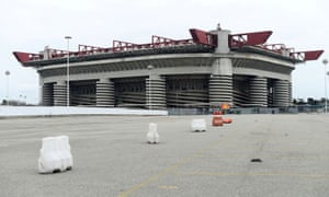 San Siro in Milan stands empty on 12 March, the day Inter's postponed game against Getafe was due to be played.