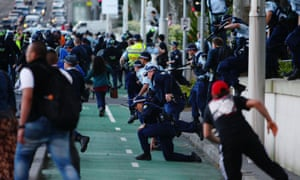 Police confront protesters demonstrating against an anti-Islam video in Sydney in September 2012.