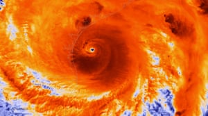 A satellite infrared image of Hurricane Harvey just prior to its making landfall on Friday