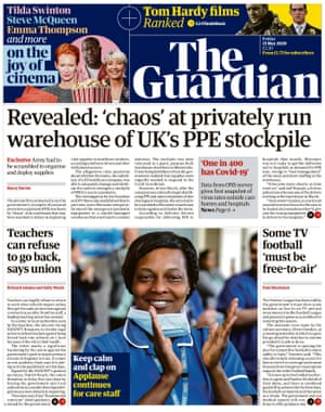 Guardian front page, Friday 15 May 2020