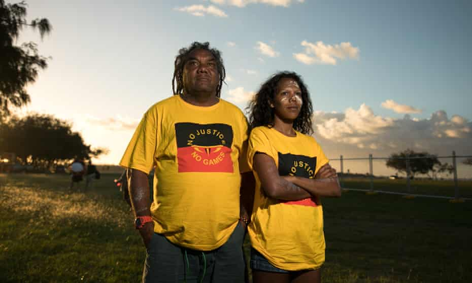 Ruby Wharton with her father Wayne, who was involved in the 1982 protest against the Commonwealth Games in Brisbane.