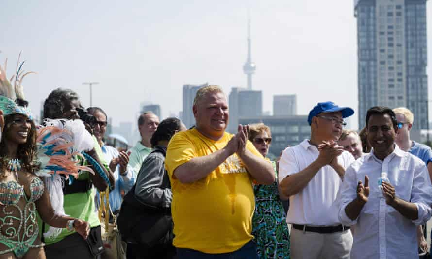 Doug Ford at the Caribbean carnival grand parade in Toronto at the weekend.