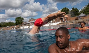 Swimmers at Parliament Hill Lido in north London