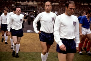 England's Ray Wilson, Bobby Charlton, Nobby Stiles, Martin Peters, Jimmy Greaves and Jack Charlton walk out at Wembley before a World Cup match against France