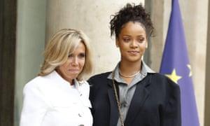 Brigitte Macron greets Rihanna at the palace.