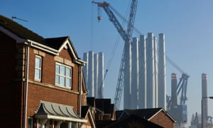 Houses dwarfed by the Siemens blade factory in Hull.