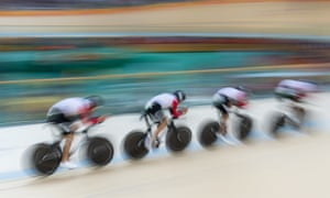 Men's Team Pursuit Qualifying At The 2016 Rio Summer OlympicsCyclists from the Switzerland team speed past in a blur during the Men's Team Pursuit Qualifying round at the Rio Olympic Velodrome during the 2016 Summer Olympics in Rio de Janeiro, Brazil, on August 11, 2016. Switzerland qualified for the next round with a time of 4:03.845. PHOTOGRAPH BY UPI / Barcroft Images London-T:+44 207 033 1031 E:hello@barcroftmedia.com - New York-T:+1 212 796 2458 E:hello@barcroftusa.com - New Delhi-T:+91 11 4053 2429 E:hello@barcroftindia.com www.barcroftimages.com