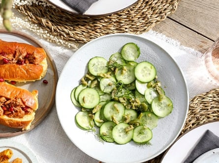 Sarah Todd's pickled cucumbers on an outdoor table.