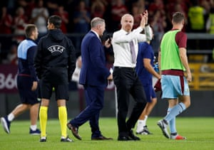Burnley manager Sean Dyche applauds the fans after the match.