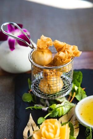 Enjoy with a Thai-style martini: Sabai Sabai's prawn toong tong.