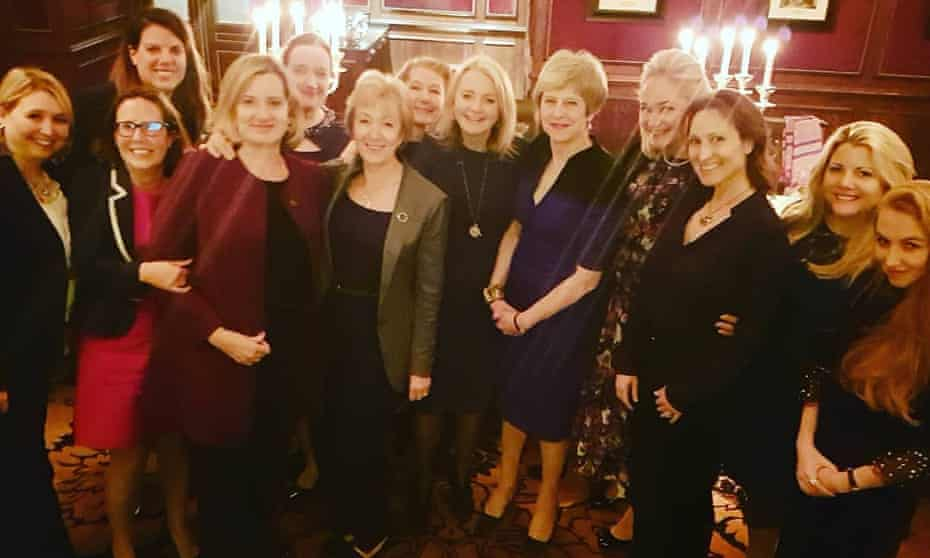 Lubov Chernukhin (fourth from right, next to Theresa May) paid £135,000 to attend a dinner last year with senior female Conservatives at the Goring hotel in central London.
