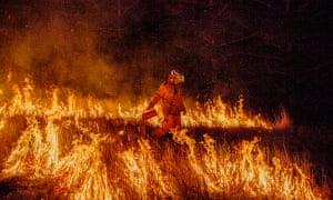 A fire fighter at the fire near Canungra, Queensland, 5 September 2019.
