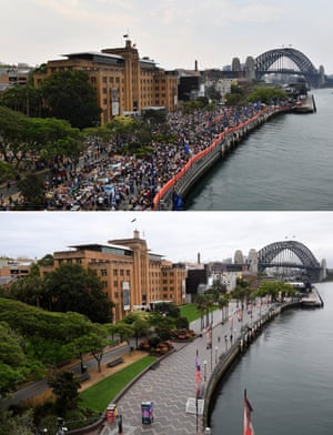 A composite image compares the crowd size at Sydney's Circular Quay on New Year's Eve 2019 (top) and today