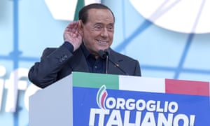 Berlusconi at a rally in Rome