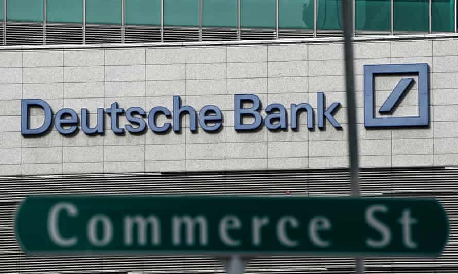 A Deutsche Bank sign in Singapore's financial district. The Trump Organization owes the bank around $340m.