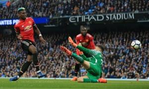 Paul Pogba beats Ederson to launch United's incredible comeback.
