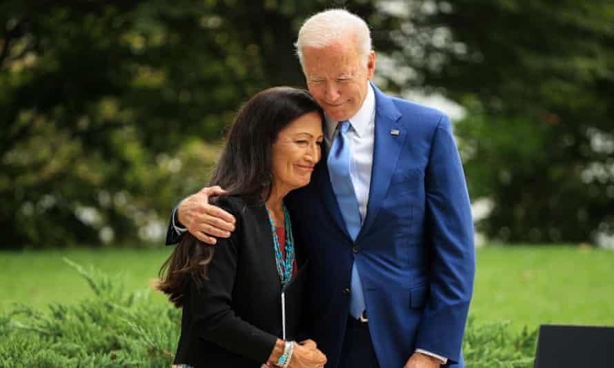 Biden with interior secretary Deb Haaland at the White House on Friday.