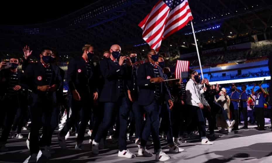 The American team during the Tokyo Olympics opening ceremony, which attracted the lowest viewer numbers in the US since Seoul in 1988.