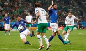 Republic of Ireland's Aiden McGeady shoots at goal.
