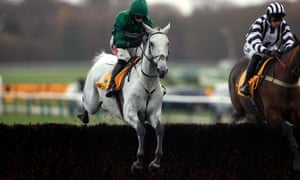 Bristol De Mai ridden by Daryl Jacob (centre) on his way to winning the Betfair Chase at Haydock Park, his third victory in the race in the last four seasons.