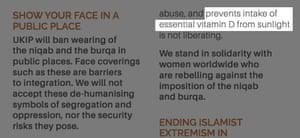 Ukip cites vitamin D as a reason to ban the burqa