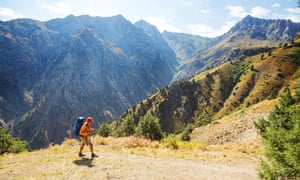 Hiker in Chimgan mountains, Uzbekistan.