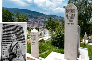 The graves of Edina Hrnjic and her son Nedim in 2018. Inset: Edina in Sarajevo, June 1999.