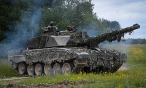 A Challenger 2 tank in use on a training exercise on Salisbury Plain in July.