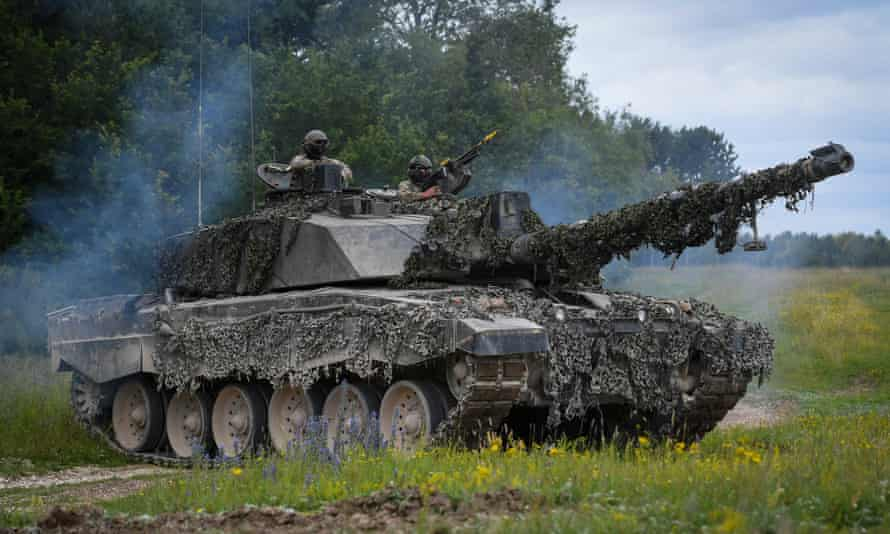 A Challenger 2 Main Battle Tank during a training exercise on Salisbury Plain.