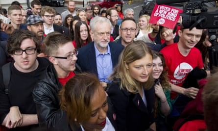 Jeremy Corbyn surrounded by supporters as he arrives to attend the ballot result for the Labour leadership election in London.