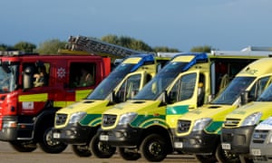 Emergency service vehicles on a former airfield close to The Mount prison on Monday
