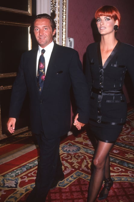 Marie with his then wife, Linda Evangelista, at the 1991 Elite Look of the Year contest in New York.